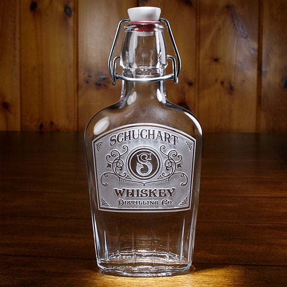 engraved whiskey flask