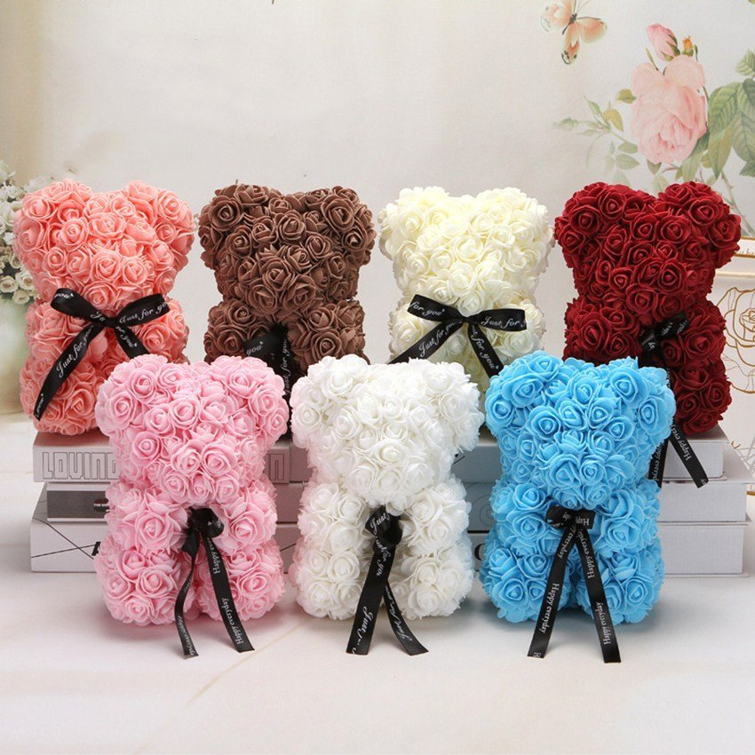 rose teddy bears with colors